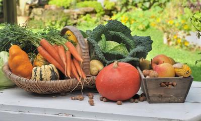 récolte de légumes et de fruits