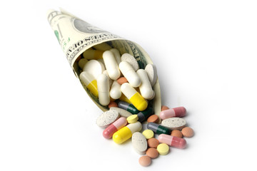 small heap of paper dollars fine and medicines