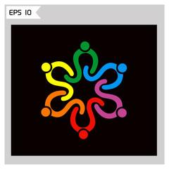 circle people teamwork diversity vector logo.