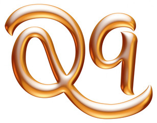 3d golden letter Q isolated white background