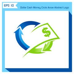 dollar cash money circle arrow abstract logo