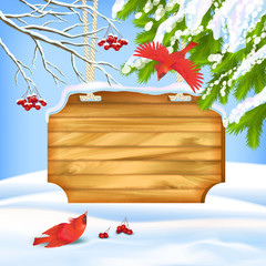Winter Landscape Birds Wooden Board