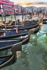 Gondolas on Grand canal in Venice, Italy