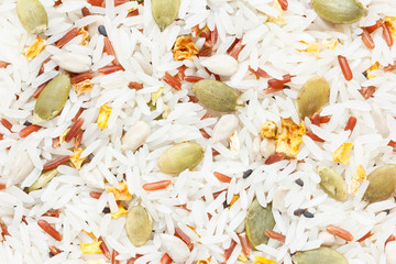 Closeup rice with Cereal Grain mix background