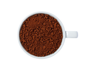 instant coffee in cup isolated on white background