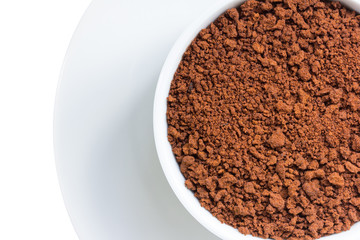 Closeup instant coffee in cup