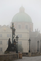 Foggy autumn Prague Old Town with Charles Bridge, Czech Republic