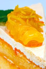 Orange cake on white background