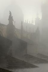 Foggy autumn Prague Old Town with Charles Bridge, Czech Republic