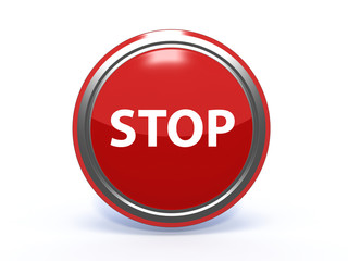 stop circular icon on white background