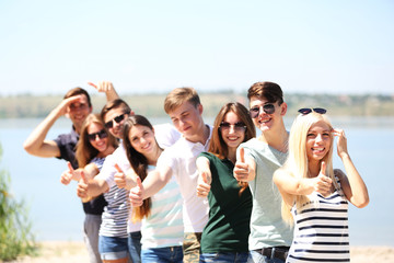 Beautiful young people on beach