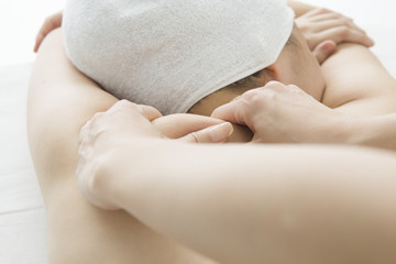 Women undergoing massage