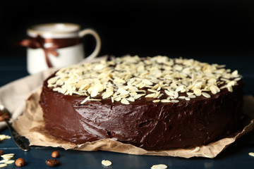 Tasty chocolate cake with almond,