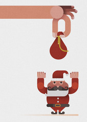 Hand give a bag to Santa claus by Christmas concept