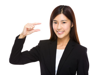 Businesswoman hold with small thing on hand