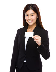 Businesswoman hold namecard