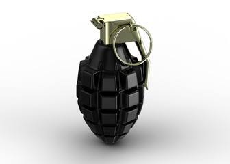Black hand grenade isolated on white - 3d render