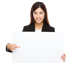 Businesswoman hold with placard