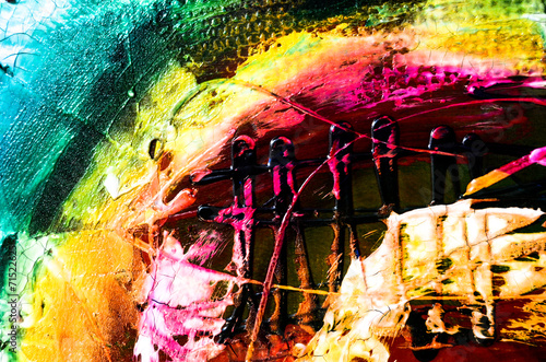 Fotobehang Olieverf Kunstdruk Farben Malerei abstrakt Struktur bunt