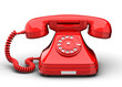 canvas print picture - An old fashioned antique rotary style telephone isolated over a