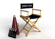 canvas print picture - DIrector chair, clapper board and megaphone