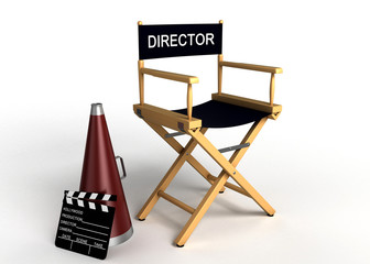 DIrector chair, clapper board and megaphone