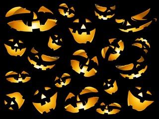 happy halloween pumpkins faces background