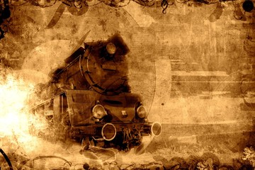 old steam train sepia background