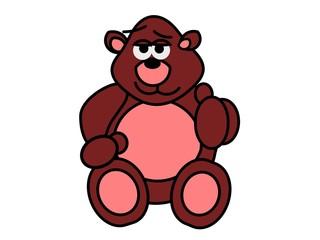 Bruine cartoon beer steekt zijn duim op