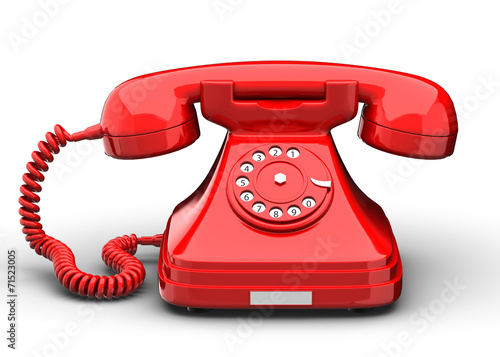 canvas print picture An old fashioned antique rotary style telephone isolated over a