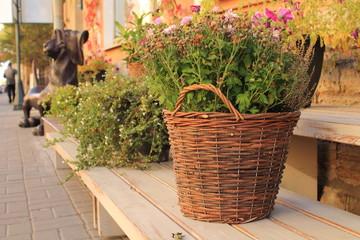плетёная корзина на деревянной подставке