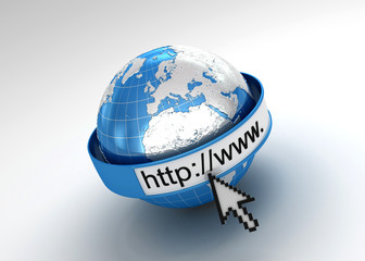 internet searching Concept, web page or internet browser. Earth,
