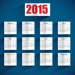 Simple 2015 calendar with shadows
