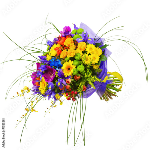 Foto op Plexiglas Gerbera Bouquet from Orchids, Roses and Gerbera Flowers Isolated on Whit