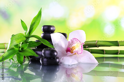 Spa stones, bamboo branches and white orchid - 71523432