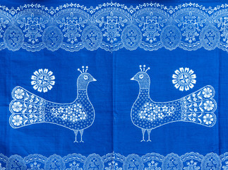 Traditional Hungarian blue-dyed fabric