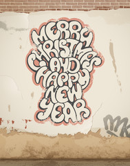Christmas greetings, spray painted, on old wall. Eps 10