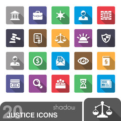 Justice icons with shadow.