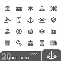 Justice icons set.