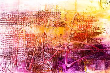 Farben Malerei abstrakt Struktur gelb orange pink