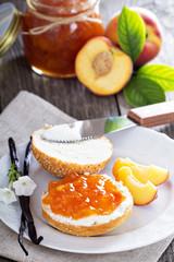 Vanilla peach jam on bread