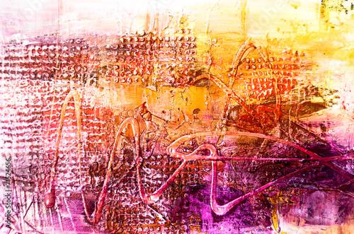 Fotobehang Olieverf Kunstdruk Farben Malerei abstrakt Struktur gelb orange pink