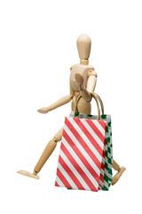 ショッピングバッグとデッサン人形