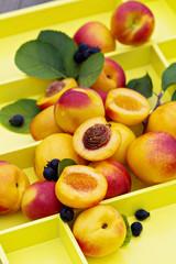 Fresh nectarines on a tray