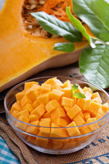 Diced butternut squash in a bowl