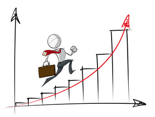 Simple Business People - Exponential Growth Chart