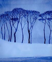 Monochrome winter landscape. Bare trees on quiet lake