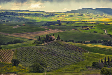 farmer estate at sunrise in San Quirico d'Orcia, Tuscany, Italy