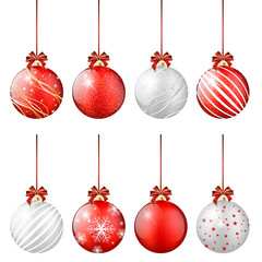 Set of shiny christmas balls on white background
