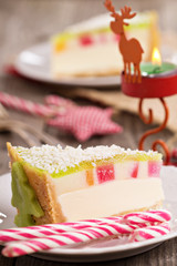 Cheesecake for christmas with colorful jelly